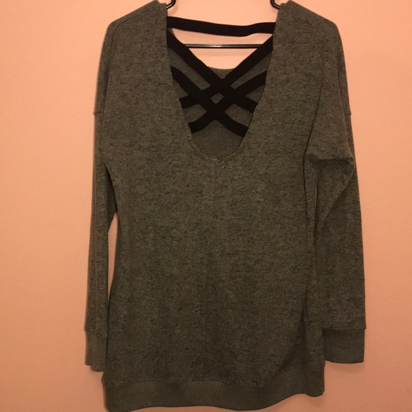 Tops - Olive Green Open Back Shirt